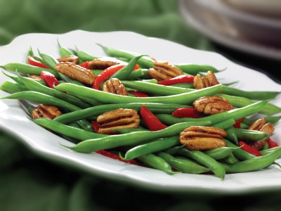 Green Beans with Roasted Red Peppers & Spiced Georgia Pecans