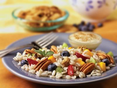 Fruited Barley Salad with Georgia Pecans, Granola Croutons & Maple Yogurt Dressing