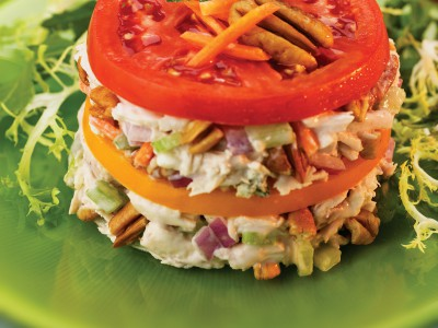 Layered Chicken Salad with Blue Cheese & Toasted Georgia Pecans