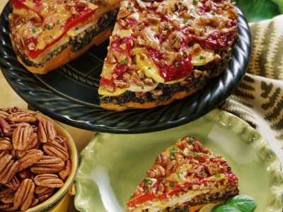 Georgia Pecan Vegetable Torte with Cheddar and Georgia Pecans