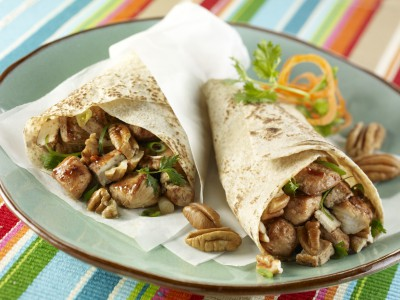 Warm Hoisin Chicken-Tofu Wraps with Cilantro & Georgia Pecans